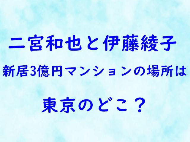 二宮和也 伊藤綾子 新居 3億 マンション 場所 東京 どこ